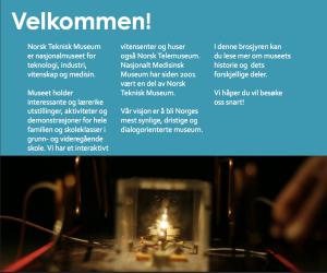 Brosjyre for Teknisk Museum, andre side. Tittel: