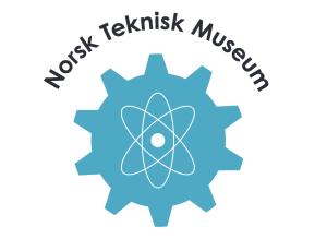 Forslag til ny logo for teknisk museum: Et tannhjul i turkis med atom-symbolet i midten.