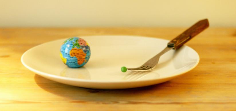 Et nærbilde, litt skrått ovenfra, av en hvit asjett på et trebord. Trebordet står inntil en hvit vegg vi kan skimte i bakgrunenn. På asjetten hviler en gaffel til høyre og en liten modell av en jordklode til venstre. På gaffelen som ligger på tallerkenen, er en liten, grønn ert, nesten midt i bildet. Bildet er preget av varme og gule toner.